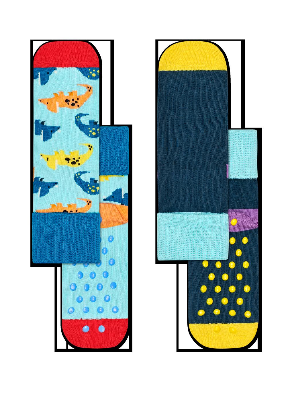 2-Pack Dinosaur Anti-Slip Socks