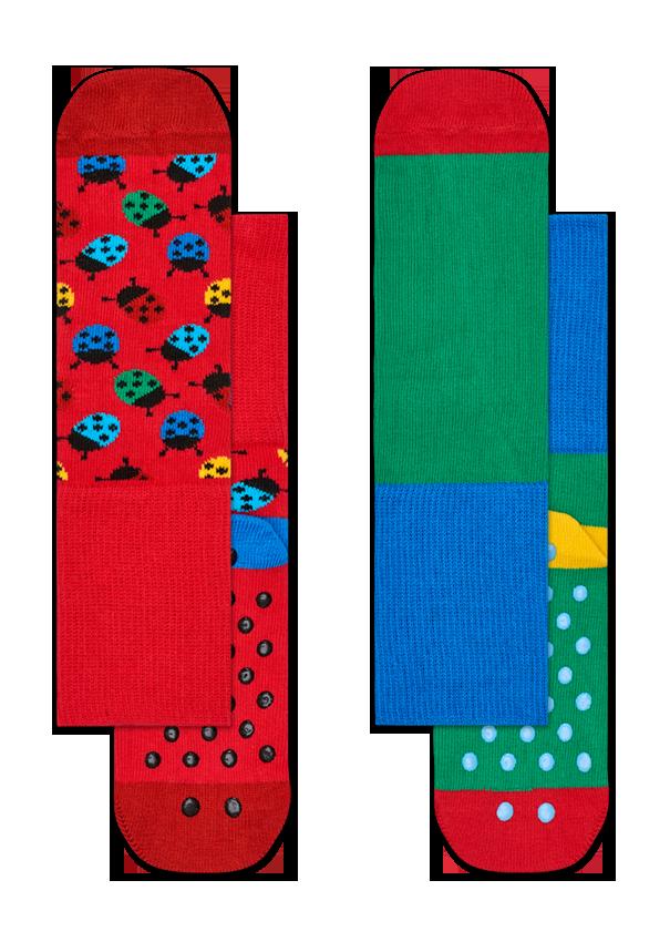 Kids 2-Pack Ladybug Anti-Slip Socks