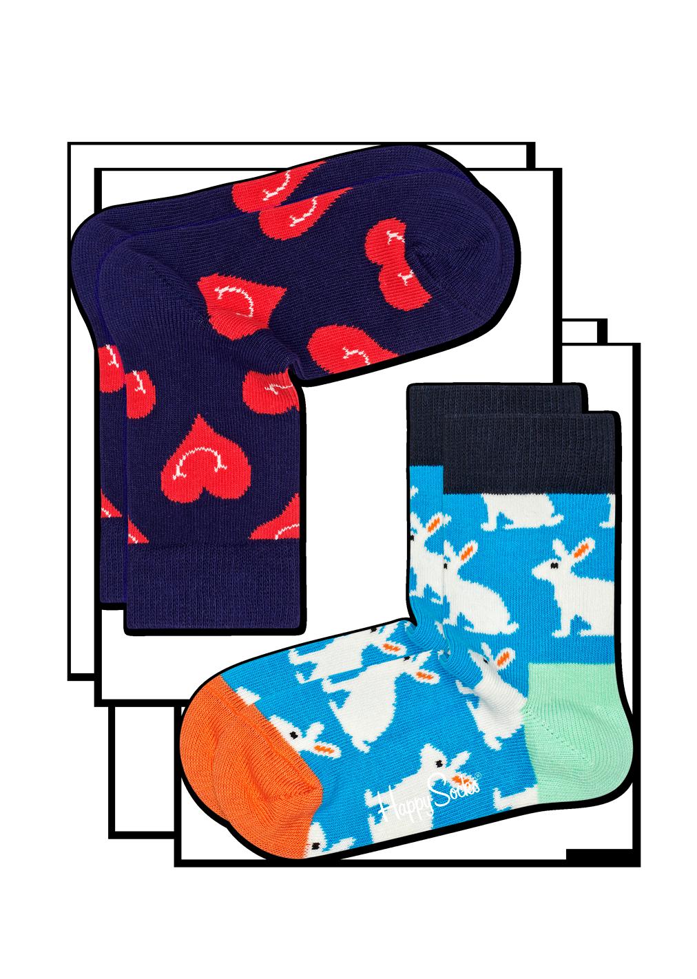 2-Pack Smiley Heart Socks