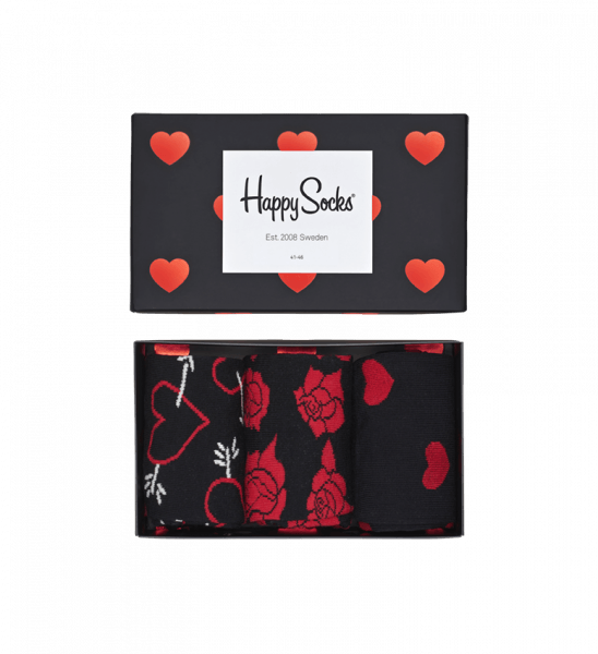 black red socks box set valentines style happy socks - Valentines Socks